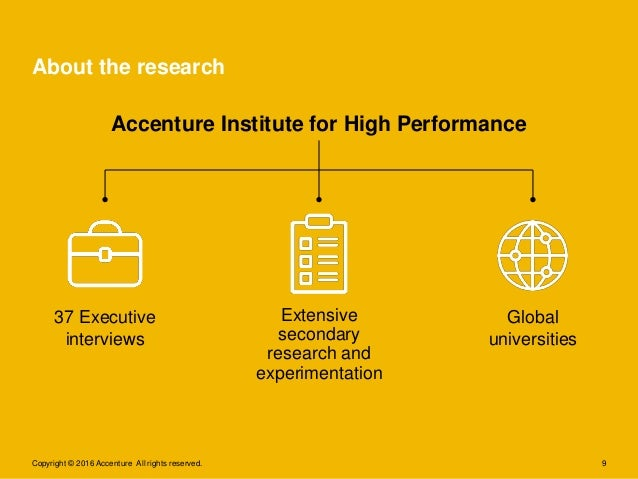9 About the research Copyright © 2016 Accenture All rights reserved. Global universities Extensive secondary research and ...