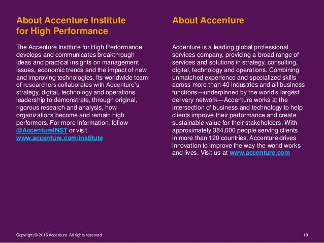About AccentureAbout Accenture Institute for High Performance 10Copyright © 2016 Accenture All rights reserved. Accenture ...