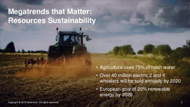 3Copyright © 2015 Accenture All rights reserved. Megatrends that Matter: Resources Sustainability • Agriculture uses 75% o...