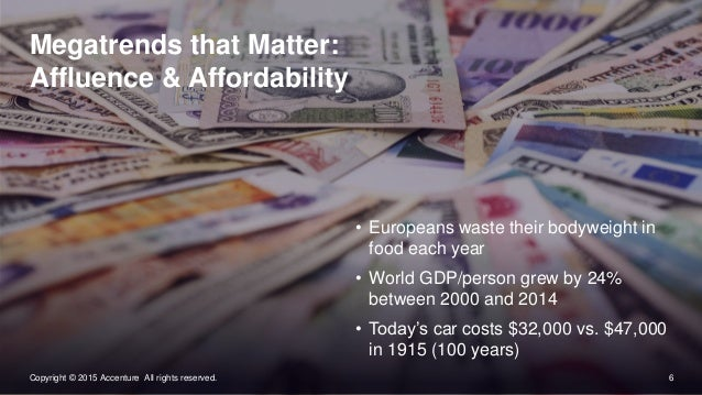 6Copyright © 2015 Accenture All rights reserved. Megatrends that Matter: Affluence & Affordability • Europeans waste their...