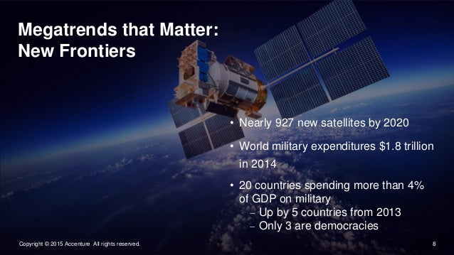 8Copyright © 2015 Accenture All rights reserved. Megatrends that Matter: New Frontiers • Nearly 927 new satellites by 2020...