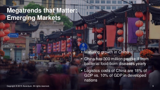 9Copyright © 2015 Accenture All rights reserved. Megatrends that Matter: Emerging Markets • Maturing growth in China • Chi...