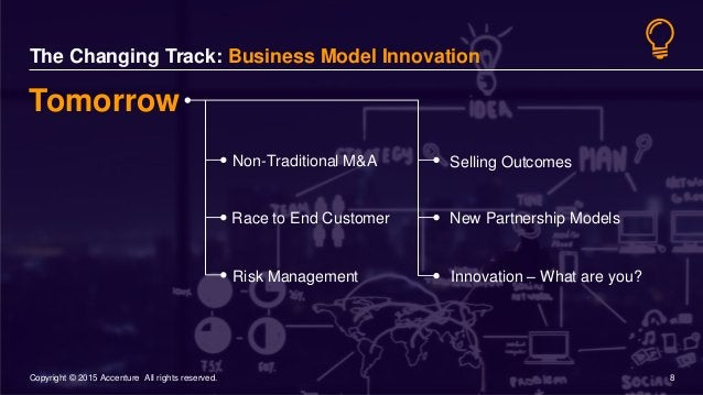 8© 2015 Accenture 8Copyright © 2015 Accenture All rights reserved. The Changing Track: Business Model Innovation Selling O...