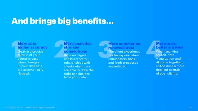 10 Copyright © 2020 Accenture. All rights reserved. More tools, better answers When analytics, search, data visualization ...