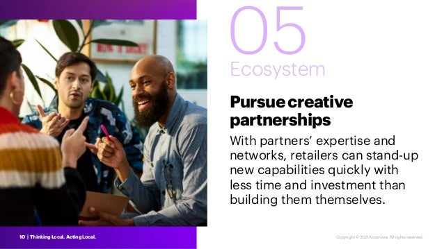 05 Ecosystem Pursuecreative partnerships With partners' expertise and networks, retailers can stand-up new capabilities qu...