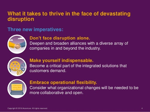 4 Don't face disruption alone. Deepen and broaden alliances with a diverse array of companies in and beyond the industry. ...
