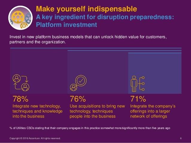 6 Make yourself indispensable A key ingredient for disruption preparedness: Platform investment Invest in new platform bus...