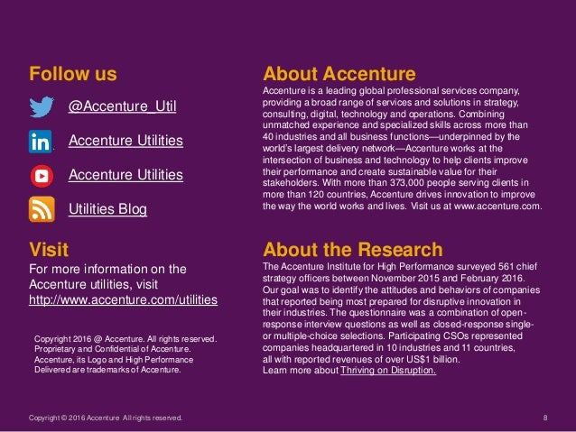 8 Visit For more information on the Accenture utilities, visit http://www.accenture.com/utilities Follow us @Accenture_Uti...