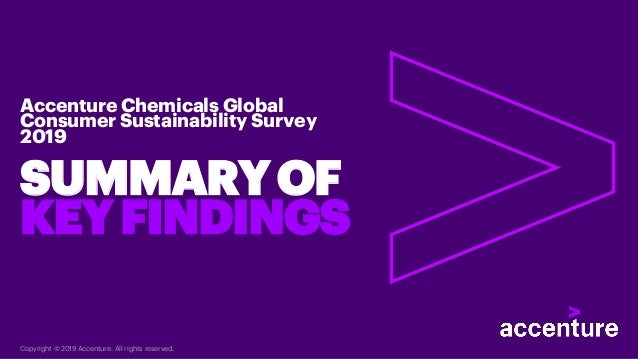 SUMMARYOF KEYFINDINGS Accenture Chemicals Global Consumer Sustainability Survey 2019 Copyright © 2019 Accenture. All right...