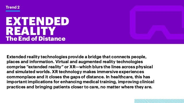 EXTENDED REALITY Trend 2 The End of Distance Extended reality technologies provide a bridge that connects people, places a...