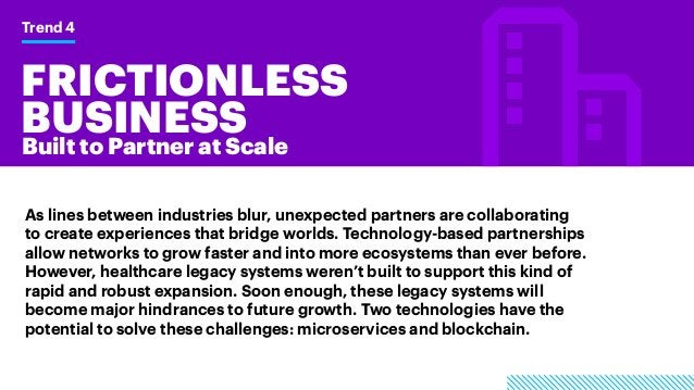 FRICTIONLESS BUSINESS Trend 4 Built to Partner at Scale As lines between industries blur, unexpected partners are collabor...