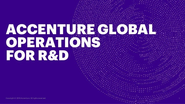 1Copyright � 2019 Accenture All rights reserved. ACCENTURE GLOBAL OPERATIONS FOR R&D