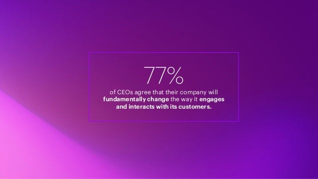 77%of CEOs agree that their company will fundamentally change the way it engages and interacts with its customers.