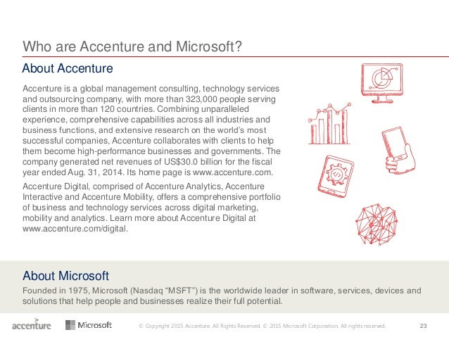 © Copyright 2015 Accenture. All Rights Reserved. © 2015 Microsoft Corporation. All rights reserved. 23 Who are Accenture a...