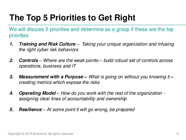 Copyright © 2015 Accenture All rights reserved. 4 1. Training and Risk Culture – Taking your unique organization and infus...