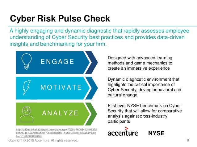 Copyright © 2015 Accenture All rights reserved. 8 Cyber Risk Pulse Check A highly engaging and dynamic diagnostic that rap...