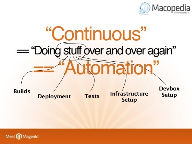 """""""Continuous"""" == """"Doing stuff over and over again""""  == """"Automation"""" Builds  Deployment  Tests  Infrastructure Setup  Devbox..."""