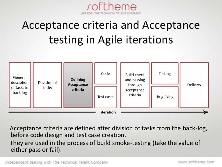 Acceptance criteria for Acceptance for value template