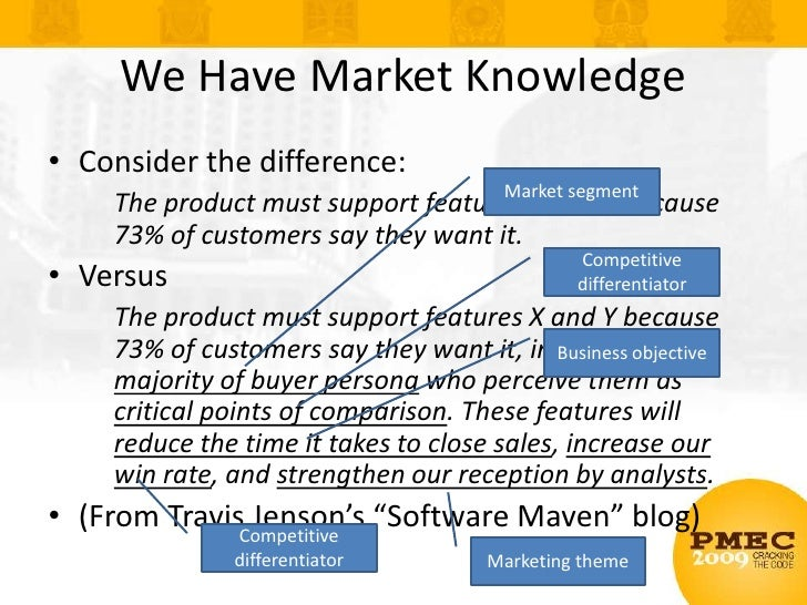 We Have Market Knowledge<br />Consider the difference:<br />The product must support features X and Y because 73% of custo...