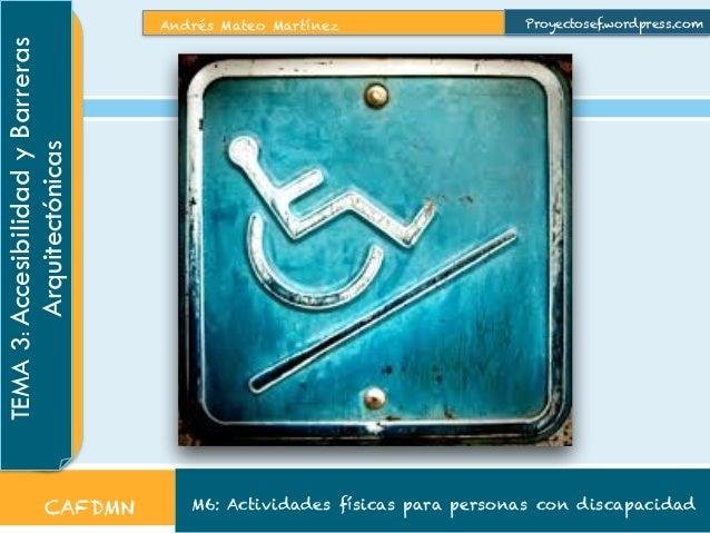 Andrés Mateo Martínez M6: Actividades físicas para personas con discapacidad TEMA3:AccesibilidadyBarreras Arquitectónicas ...