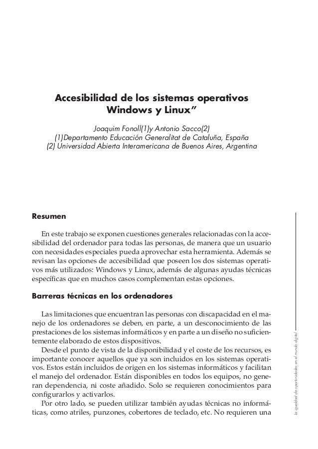 """Laigualdaddeoportunidadesenelmundodigital Accesibilidad de los sistemas operativos Windows y Linux"""" Joaquim Fonoll(1)y Ant..."""