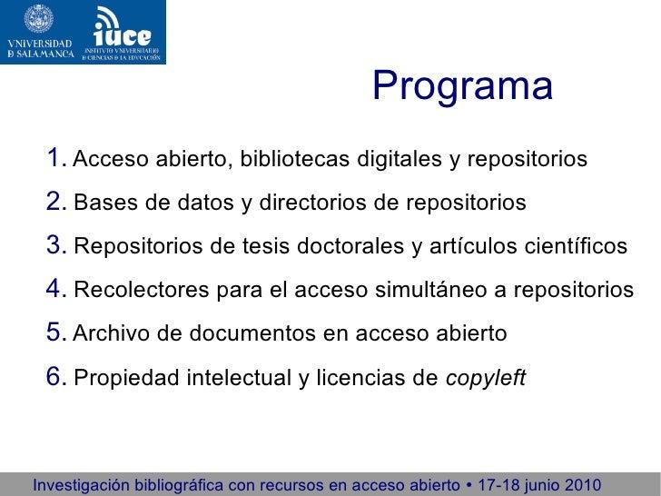 Investigación bibliográfica con recursos en acceso abierto 2010 (1/5) Slide 2