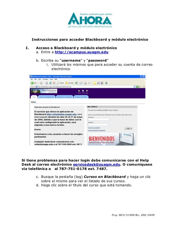 Instrucciones para acceder Blackboard y módulo electrónico    I.     Acceso a Blackboard y módulo electrónico          a. ...