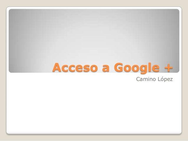 Acceso a Google + Camino López
