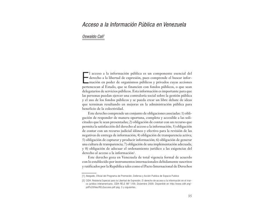 Acceso a la Información Pública en VenezuelaOswaldo Cali1E      l acceso a la información pública es un componente esencia...