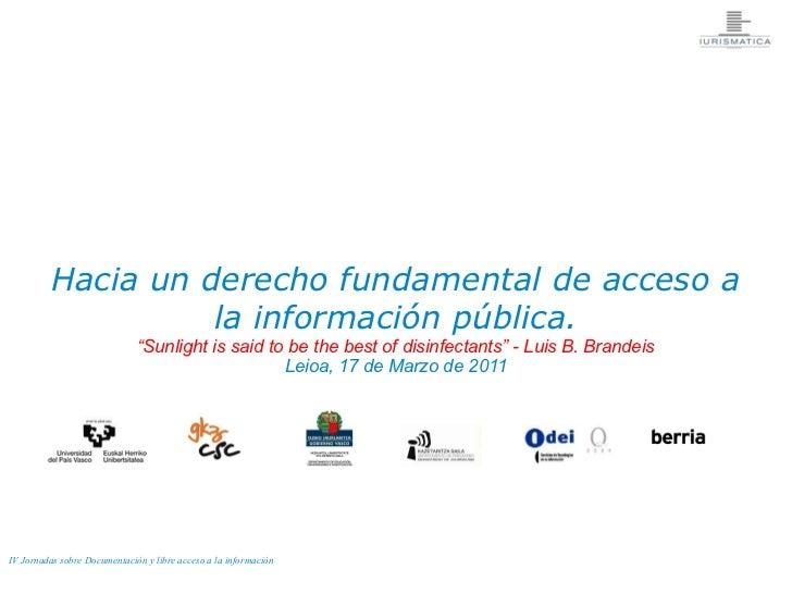 """Hacia un derecho fundamental de acceso a                   la información pública.                              """"Sunlight ..."""