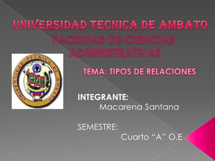 UNIVERSIDAD TECNICA DE AMBATO<br />FACULTAD DE CIENCIAS<br /> ADMINISTRATIVAS<br />TEMA: TIPOS DE RELACIONES<br />INTEGRAN...