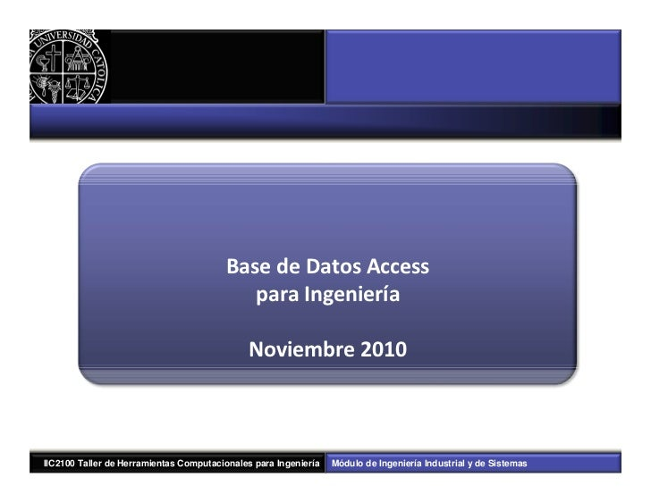 Base de Datos Access                                            para Ingeniería                                           ...