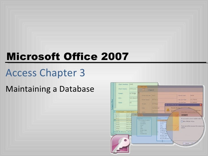 Access Chapter 3 Maintaining a Database
