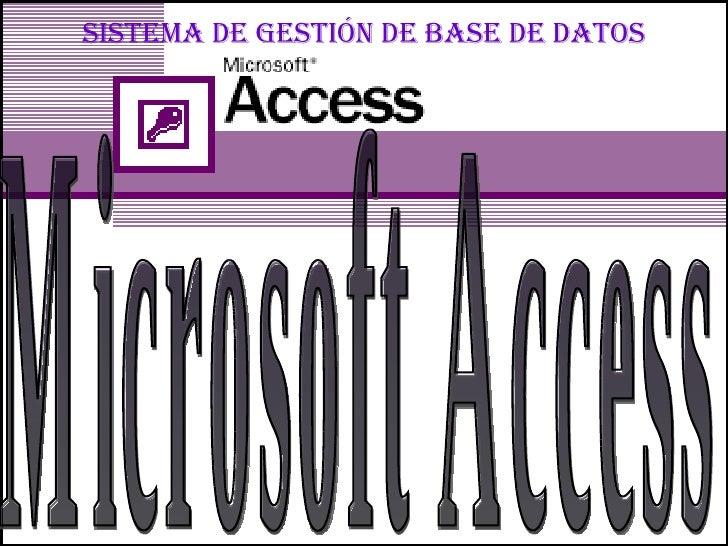 Microsoft Access Sistema de gestión de base de datos