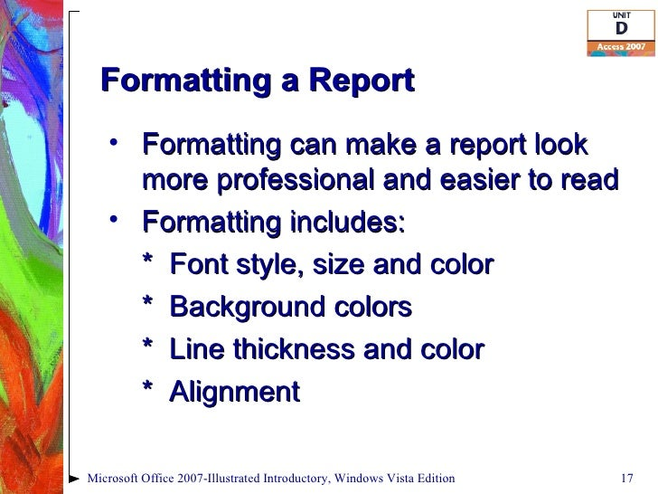 how to create a report in access 2007