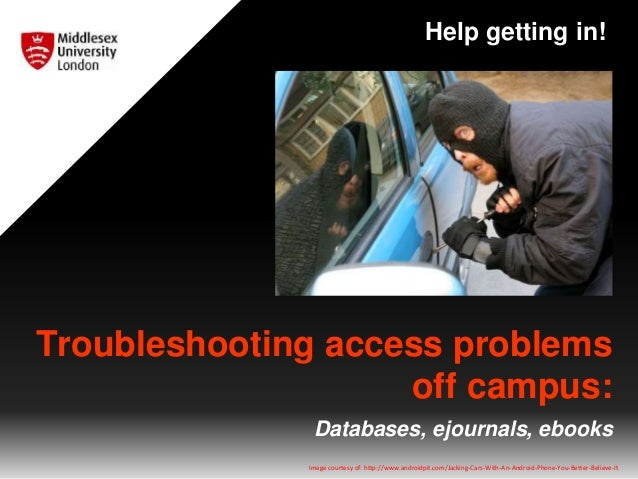 Troubleshooting access problems off campus: Databases, ejournals, ebooks Help getting in! Image courtesy of: http://www.an...