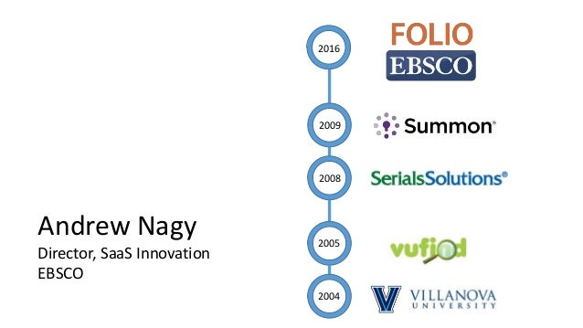 Andrew Nagy Director, SaaS Innovation EBSCO 2016 2009 2008 2005 2004