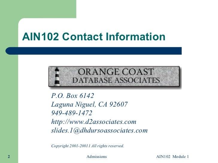 AIN102.1 Microsoft Access Queries Module 1 Slide 2
