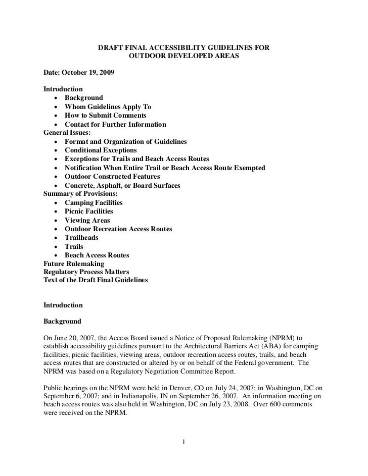 DRAFT FINAL ACCESSIBILITY GUIDELINES FOR                           OUTDOOR DEVELOPED AREAS  Date: October 19, 2009  Introd...