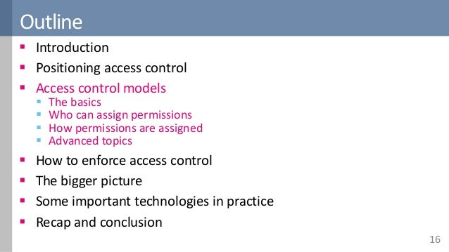 An overview of access control
