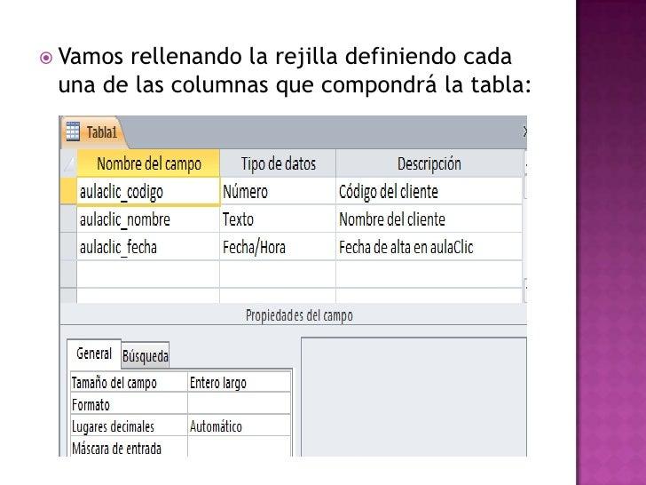  Vamosrellenando la rejilla definiendo cada una de las columnas que compondrá la tabla: