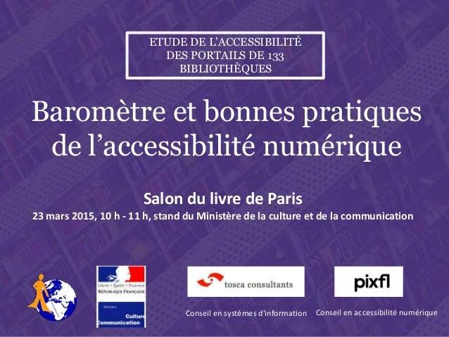 Salon du livre de Paris , lundi 23 mars 2015, 10 h – 11 h. Stand du Ministère de la culture et de la communication Etude d...