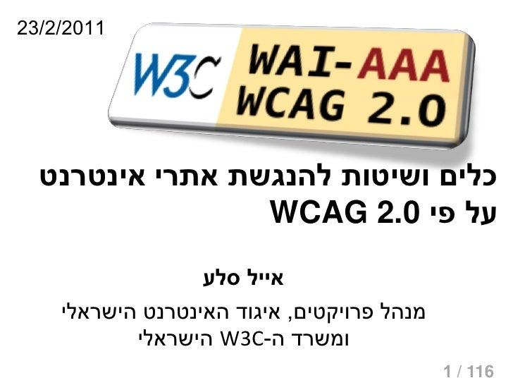 1102/2/32  כלים ושיטות להנגשת אתרי אינטרנט                 על פי 0.2 WCAG                  אייל סלע    מנהל פרו...