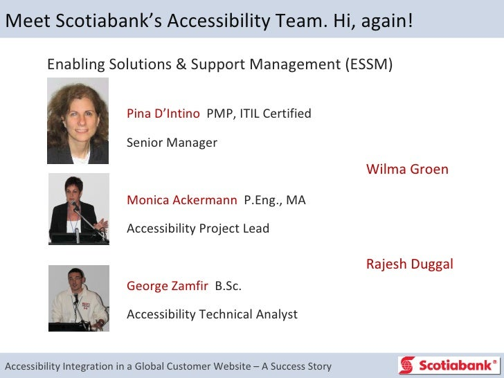 Accessibility Integration in a Global Customer Website - Scotiabank.com - A Success Story 2/2 Slide 2