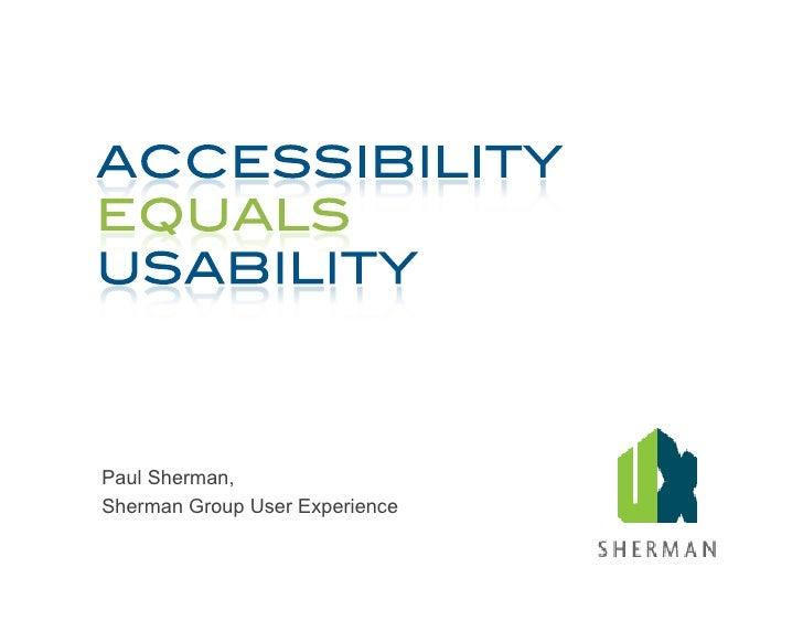 Paul Sherman, Sherman Group User Experience
