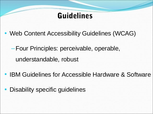 web content accessibility guidelines 10 world wide web