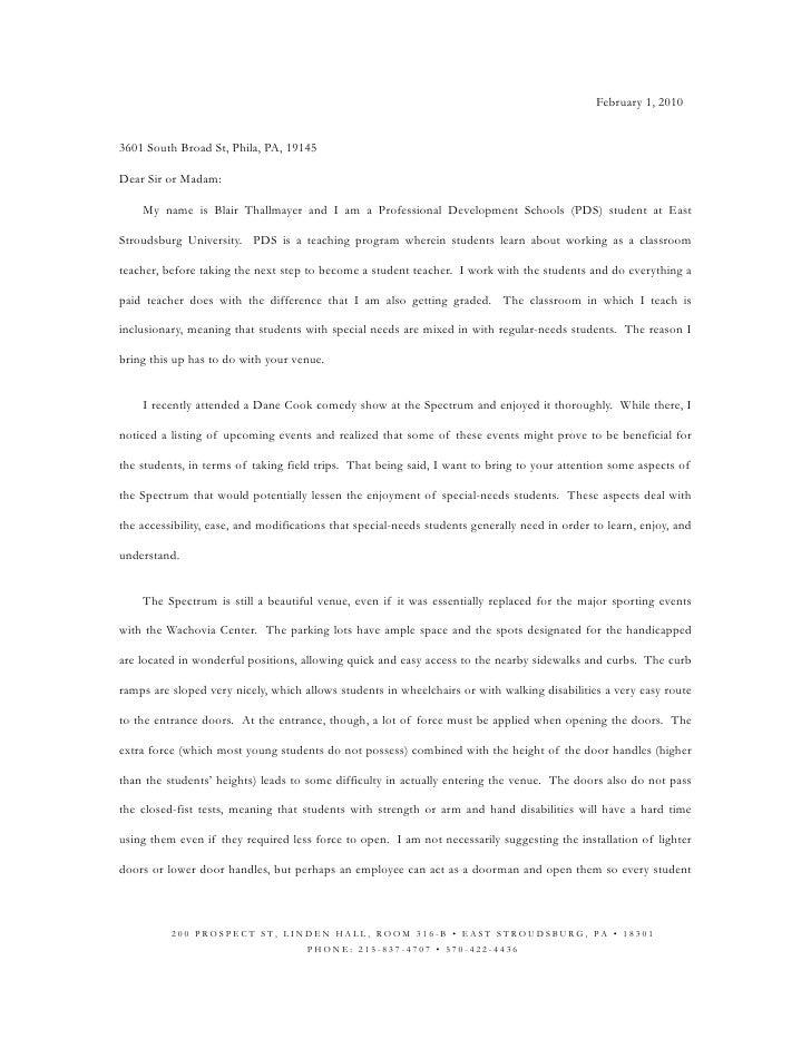 February 1, 2010   3601 South Broad St, Phila, PA, 19145  Dear Sir or Madam:      My name is Blair Thallmayer and I am a P...