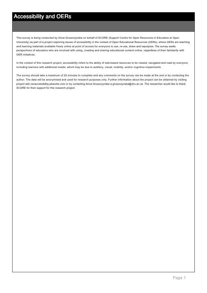 Accessibility and OERs      ThissurveyisbeingconductedbyAnnaGruszczynskaonbehalfofSCORE(SupportCentreforOp...