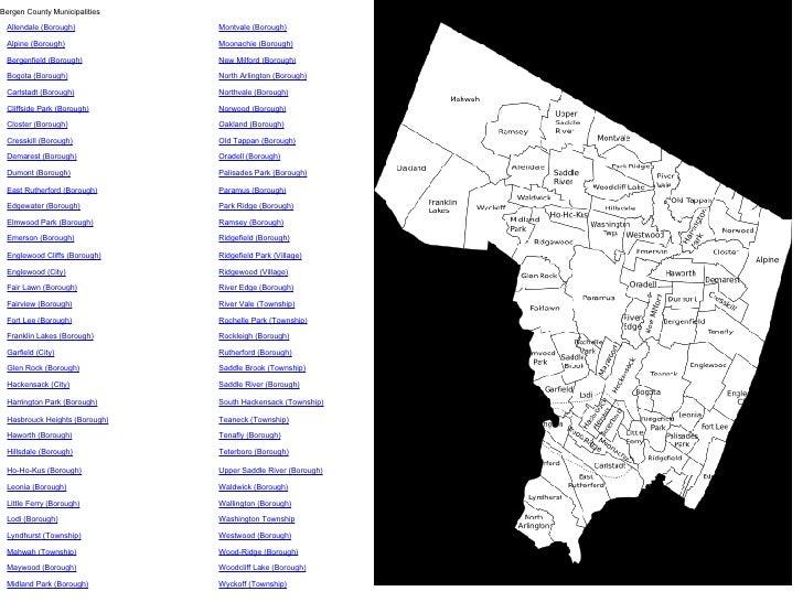 h Bergen County Municipalities Allendale (Borough) Montvale (Borough) Alpine (Borough) Moonachie (Borough) Bergenfield (Bo...