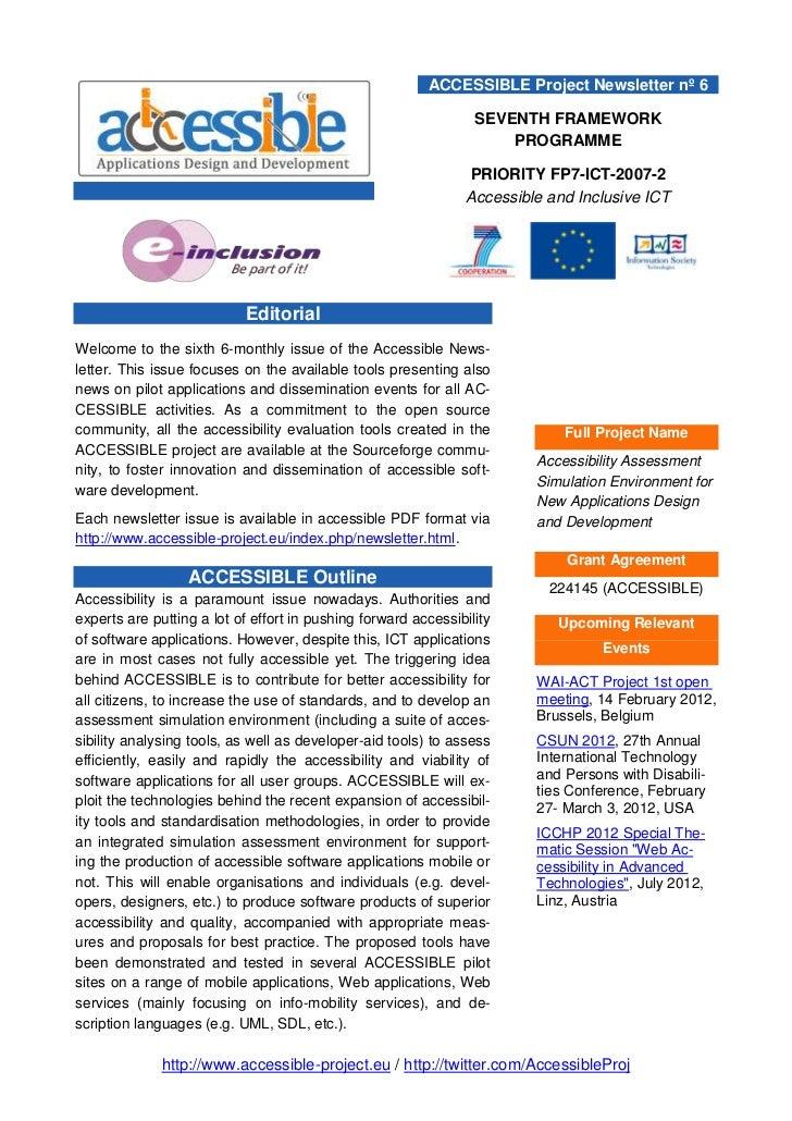 ACCESSIBLE Project Newsletter nº 6                                                                 SEVENTH FRAMEWORK      ...